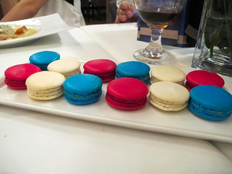 Blue, white and red macarons - the colours of the French flag!
