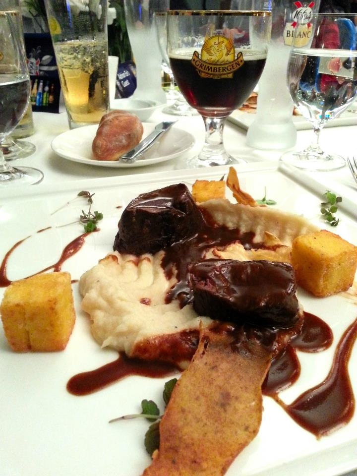 Roasted Venison Tenderloin on top a Celeriac Puree sauce with chocolate flavours, hazelnut tuile and thyme polenta paired with Grimbergen Ambree