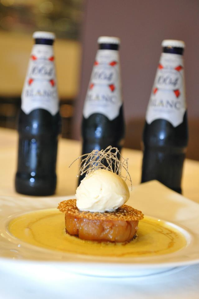 "Homemade Brioche ""Pain Perdu"", Vanilla Custard Sauce, Apple and Pear Tarte Tatin with a signature Kronenbourg 1664 Blanc Ice Cream."