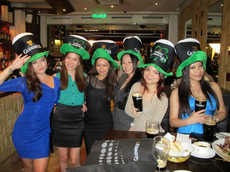 Celebrated St. Patricks Day at the Guinness street party along Changkat Bukit Bintang in Kuala Lumpur