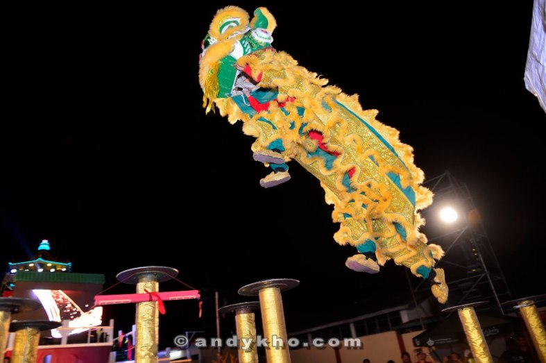 A lion dance display by the world champions the Kun Seng Keng Dragon Lion Dance Association