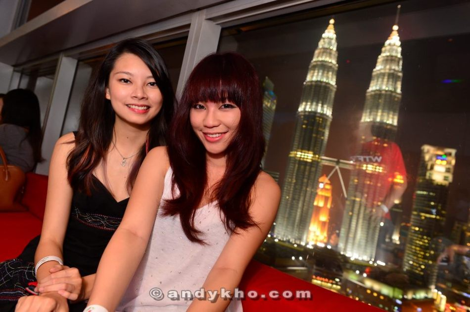MHB's Adrienne and Karen Kho with the fantastic view of the Petronas Twin Towers in the background