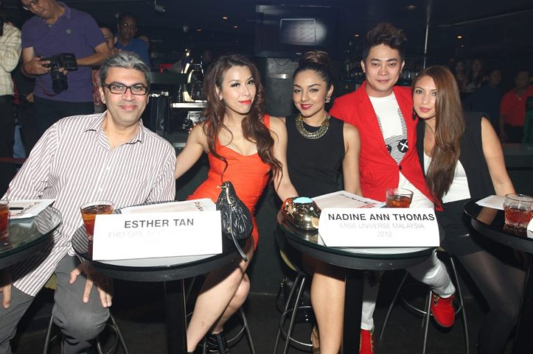 Judges for the evening - FHM editor Rajesh, GND 2011 winner Esther Tan, Miss Malaysia Universe 2010 Nadine Ann Thomas, Amber Chia Academy's catwalk guru BEnjamin Toong and DJ/ model Patricia K