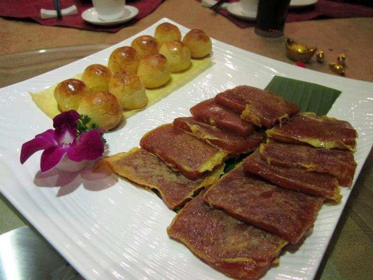 Pan Fried Nian Gao and Baked Lotus Paste Pastries