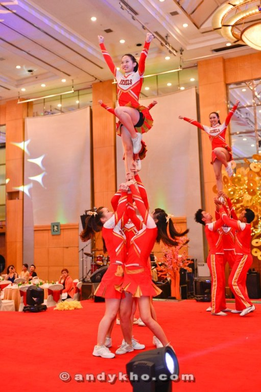 A cheerleading display as Carlsberg is very involved in football internationally having sponsored EURO 2012 and also BPL clubs Arsenal and Liverpool