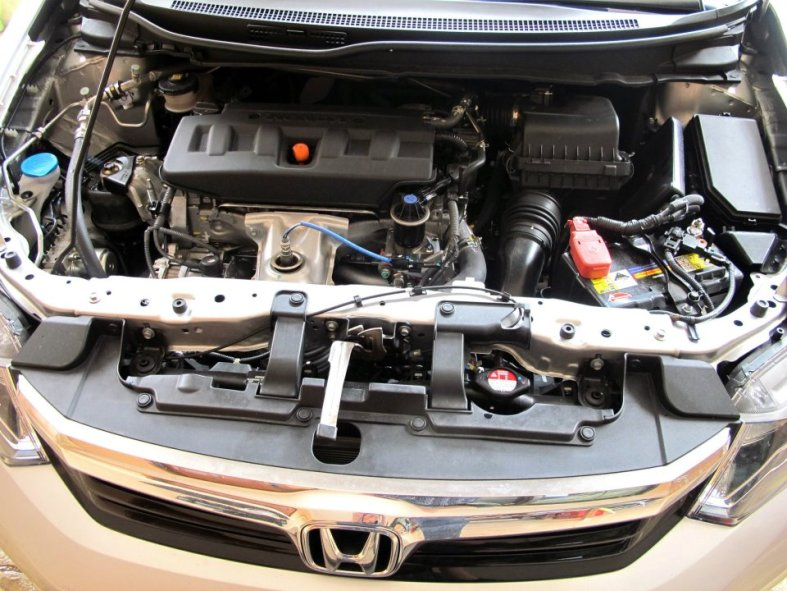 The compact looking engine bay