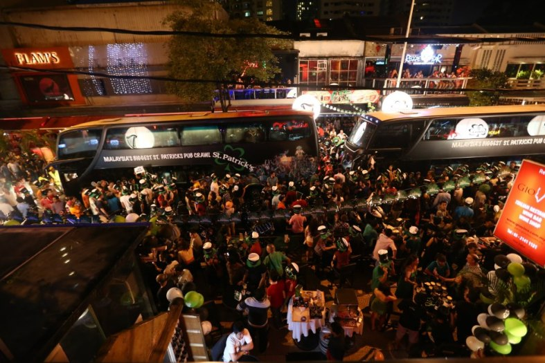 VIPs, celebs and members of the media were taken on the pub crawl in the Guinness busses