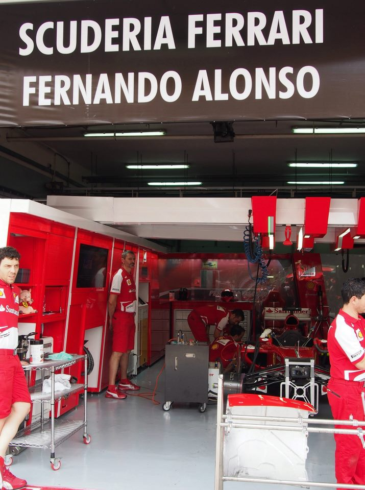 A peek at the Ferrari garage!