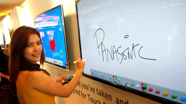 A white board? Nopes...that's Esther writing on the Panasonic Smart VIERA TV!