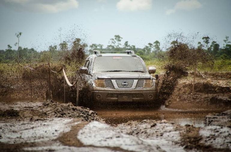 Going through the mud track