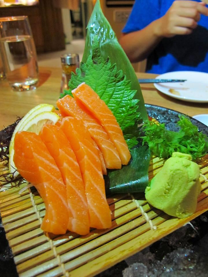 Salmon sashimi - fresh and thick slices of salmon