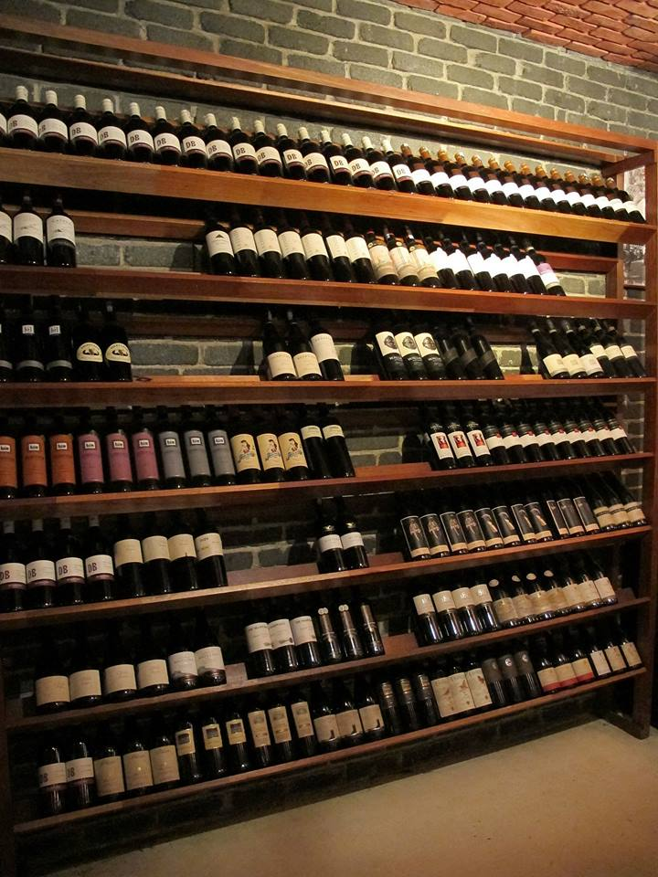 This is just one of their wine racks. They have a wide range of different wines from various regions.