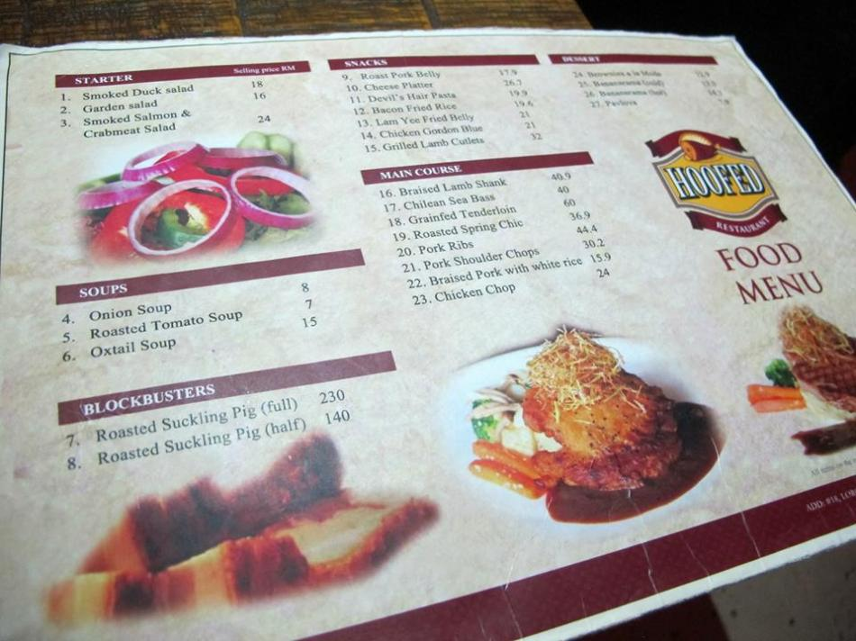 The menu which I feel is quite reasonably priced