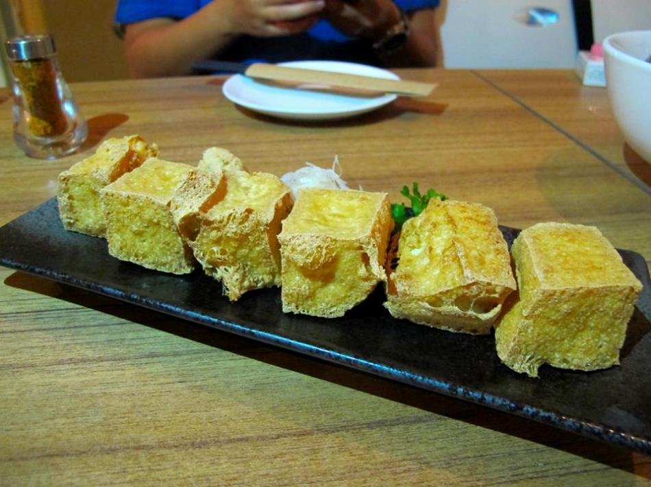 Deep fried tau fu - crispy on the outside and soft on the inside. Don't let this one go cold!