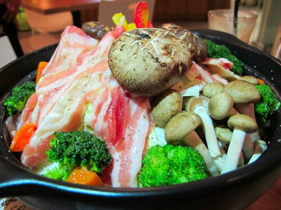First up we decided to have a nabe or Japanese hot pot dish with lots of different ingredients inside. Spot the bacon strips!