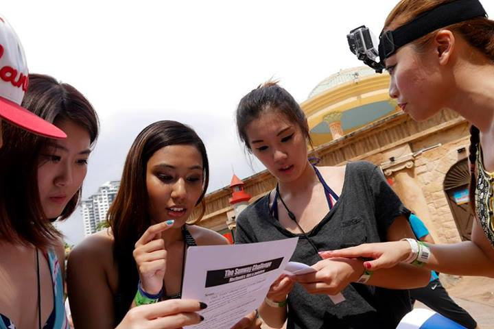 The teams were briefed on the objectives and rules of the race then were given a set of clues. From the clues, teams were supposed to figure out the 7 rides/ activities in Sunway Lagoon to complete and get the pass from the hidden marshal in order to accumulate points.