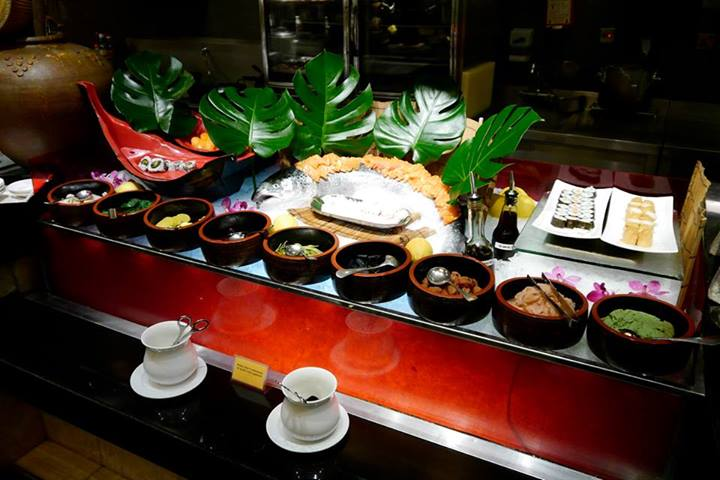 A Japanese sushi and sashimi bar with so many different condiments! My fav was the edamame!