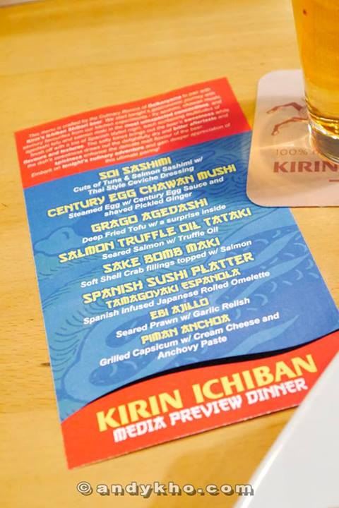And so we had a degustation menu to go with the Kirin Ichiban beer!