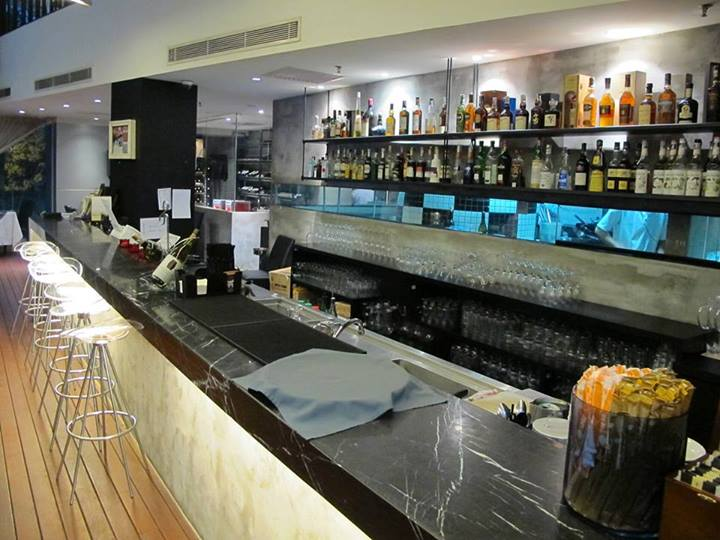 The well-stocked bar