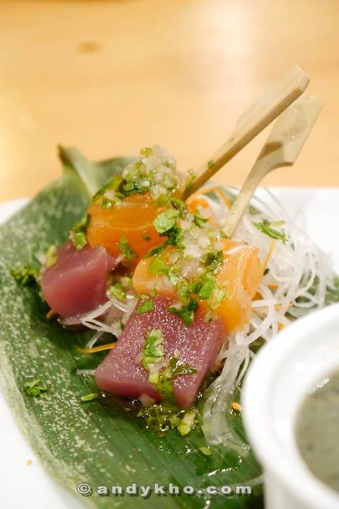 Tuna and salmon sashimi