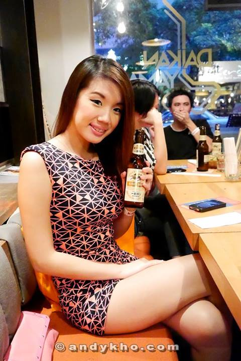Jiayeen with her bottle of Kirin Ichiban which is the No.1 all malt beer in Japan