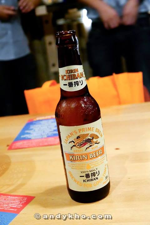 100% malt, first press beer. Kirin Ichiban is brewed from only malt, hops and water. Unlike other beers, only the first press of the wort is used.