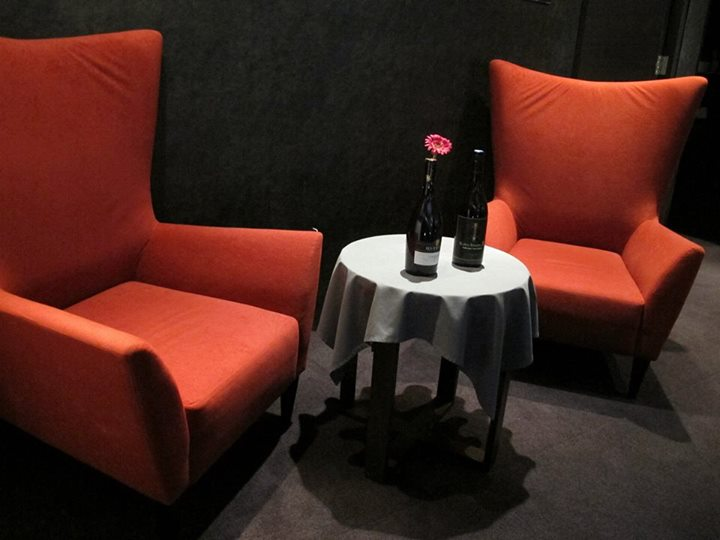 Nice sofas where you can have a conversation of coffee or wine