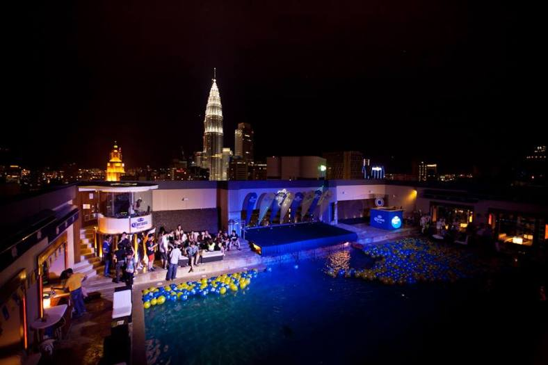 A pool under the stars with a magnificent view of the KL skyline at night