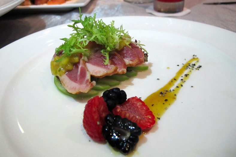 Home Smoked Duck Breast - Juicy and moist duck breast served with fresh fig and lingon berry marmalade. - RM32