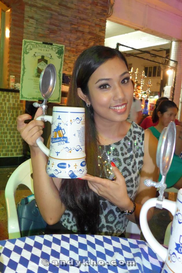 Kay with her 1 litre stein. Best thing about buying it is that you get to take home the stein!