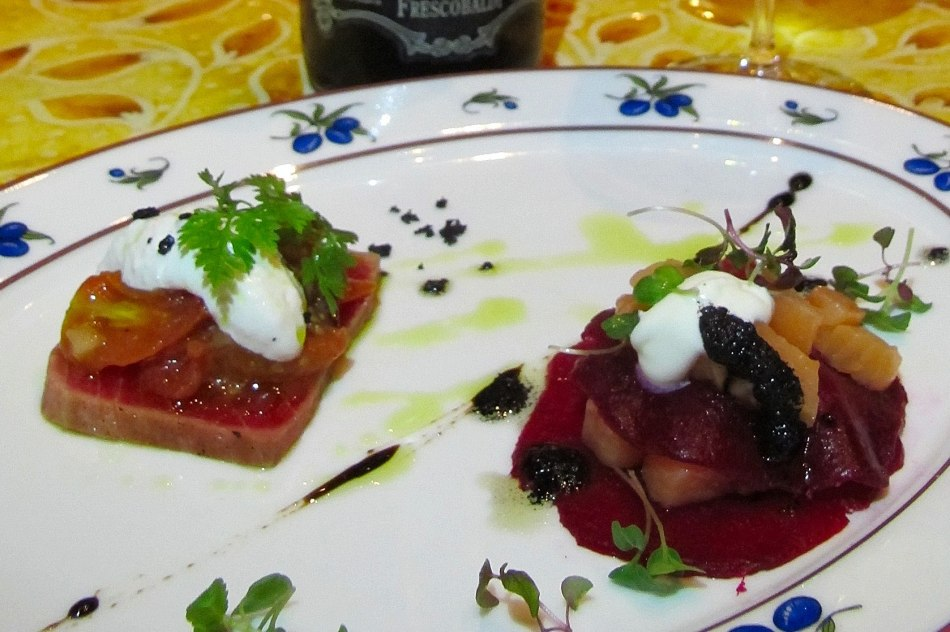 Antipasto Millefoglie di salmone e barbabietola affumicati al rosmarino, salsa cenere e panna acida Rosemary smoked salmon and beetroot mille foille, ash sauce and sour cream Mousse di burrata all`olio Ex. Vergine d oliva con crudaiola di tonno alla mediterranea Burrata and Extra Virgin Olive Oil Mousse, Mediterranean Vegetables and Raw Tuna Salsa