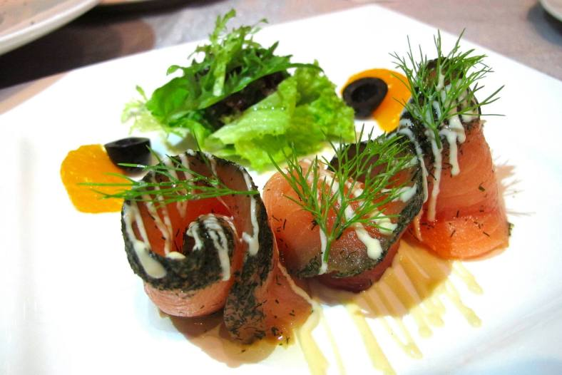 Salmon Gravlax Carpaccio - a Norwegian specialty of thinly sliced dill marinated salmon dressed in sweet mustard. - RM35