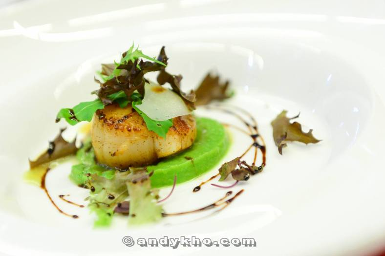 Capesante - RM58.00 - Pan-fried scallop served with warm pea and basil puree, balsamic rucola salad, and parmesan shaves. The scallop was beautifully cooked to perfection and went well with the puree. Another lovely starter!