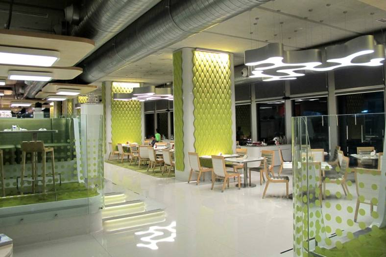 The interior of Nook is bright, cheerful and modern making it an inviting place.