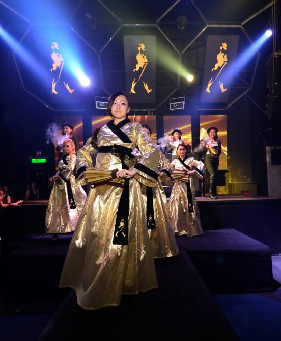"Dancer in the traditional Hanbok inspired costumes completed the ""Celebration Blend"" presentation of the Johnnie Walker bottles."