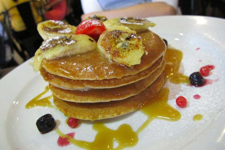 Butterscotch Pancakes - RM14.90 - nice fluffy pancakes with berries and bananas and covered with butterscotch! Comfort food!