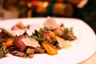 Wild Mushroom with Lamb, Grilled Leek and Yellow Tomato