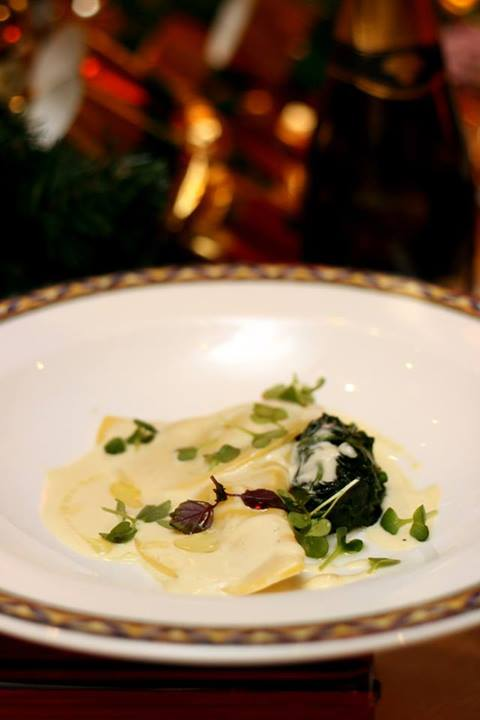 Potato and Fontina Cheese Ravioli with Sautéed Spinach and Parmesan Cream