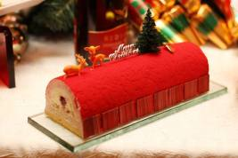 Litchi and Raspberry Mousse Yule Log