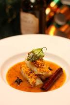Pan Seared Cod with Crusted Coconut Chili and Citrus Cinnamon Reduction