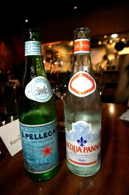 You have a choice of still or sparkling water