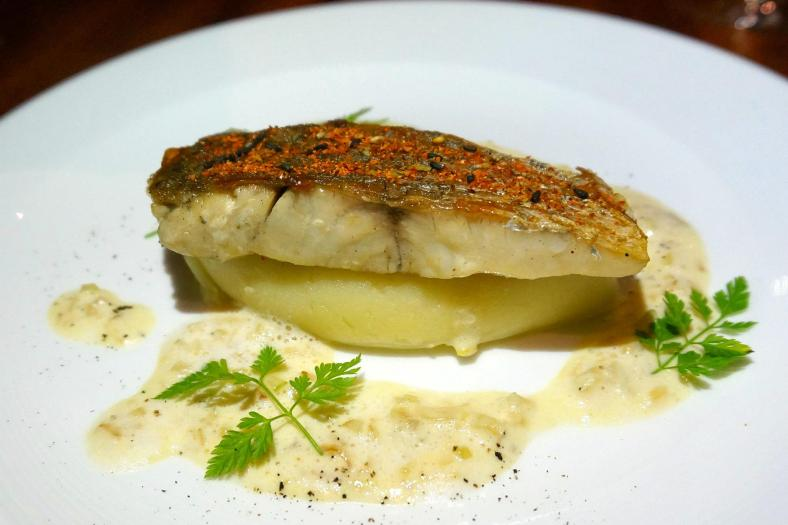 Pan Seared Barramundi, Tongarashi Crust and Fennel Emulsion