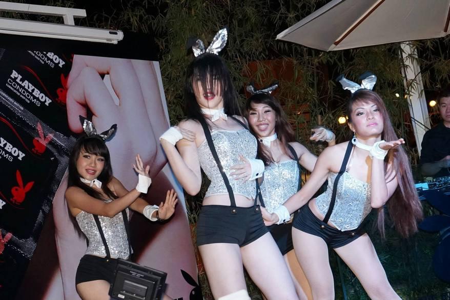 Energetic dancer performance by dancing bunnies