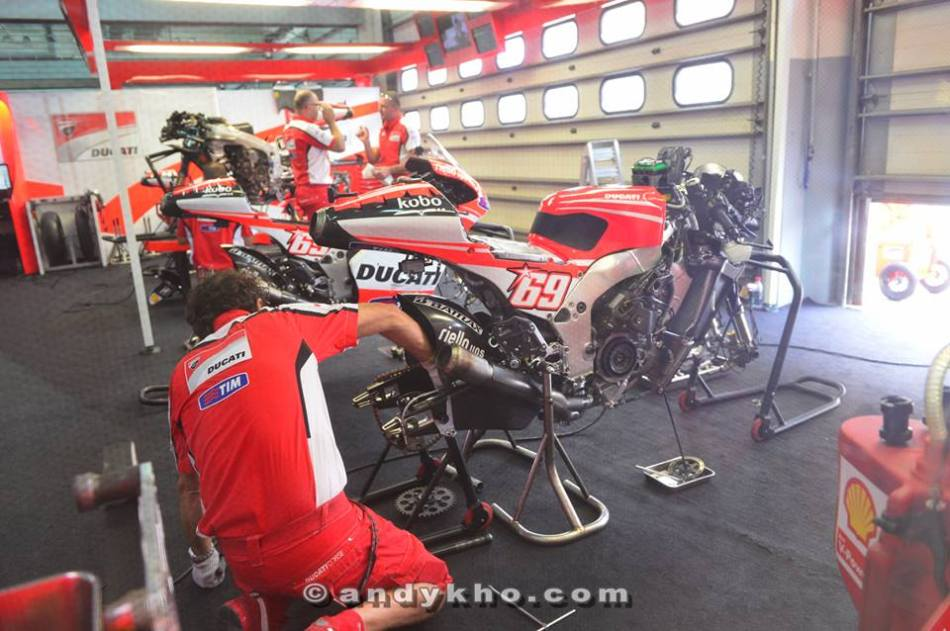 We got to visit the Ducati pits and watch the mechanics prep the bikes for the race