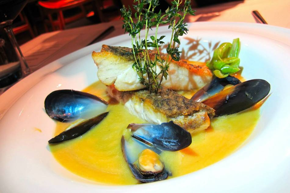My partner-in-crime is not much a fan of duck so we opted to add on a Pan Fried Sea Bass - served with black mussels in chickpea puree.