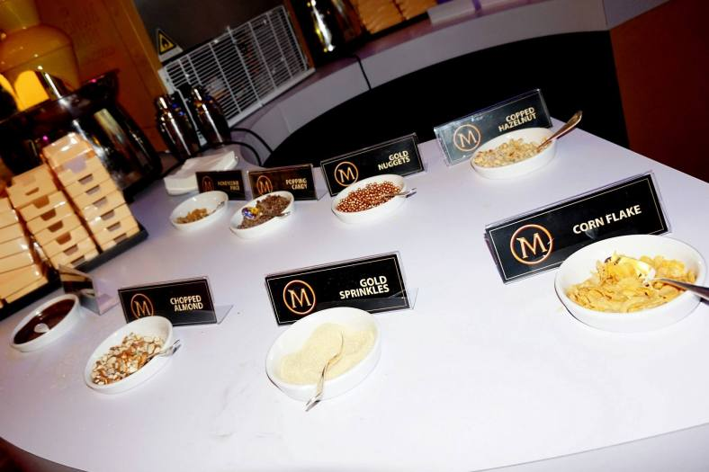 The toppings available for us to add to our own Magnum