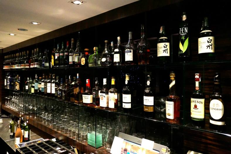 The bar is pretty well stocked with wines, liquors, and beers!