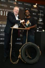 Winner of the tyre swing which was auctioned off. The tyre swing is a standard tyre transformed into a stylish yet comfortable swing.