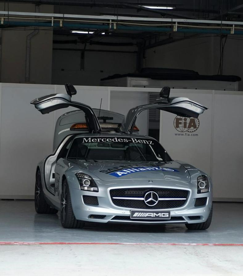 The sporty and beautiful gull-winged Mercedes SLS is the official F1 safety car.