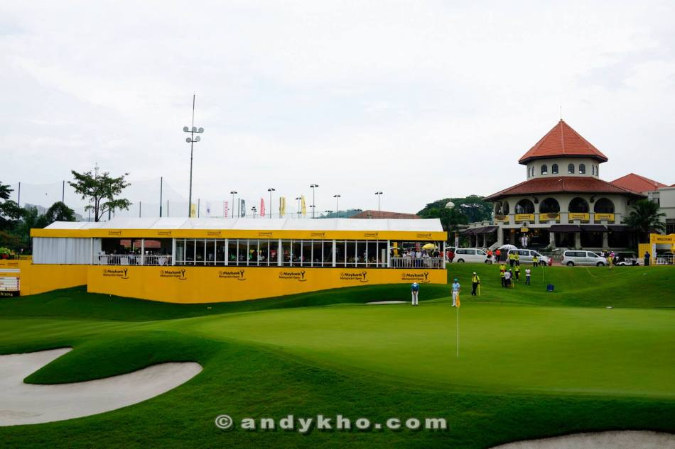 The lounge was overlooking the 18th hole and was where the crowd cheered on their favourite players